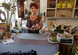 Lucy creates her bouquets in her shop at Great Malvern Train Station