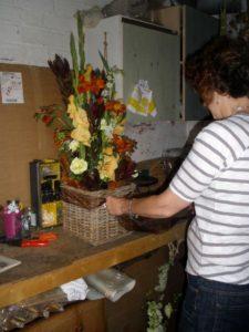 Lucy creating another bespoke flower arrangement