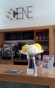 Bright yellow and white flower display on the bar at Malvern Theatre