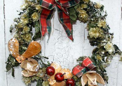 Tartan Christmas wreath by Shrinking Violet Bespoke Floristry