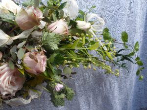 Wedding bouquet of soft pink roses by Shrinking Violet