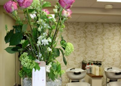 Reception flowers for pHd Malvern by Shrinking Violet