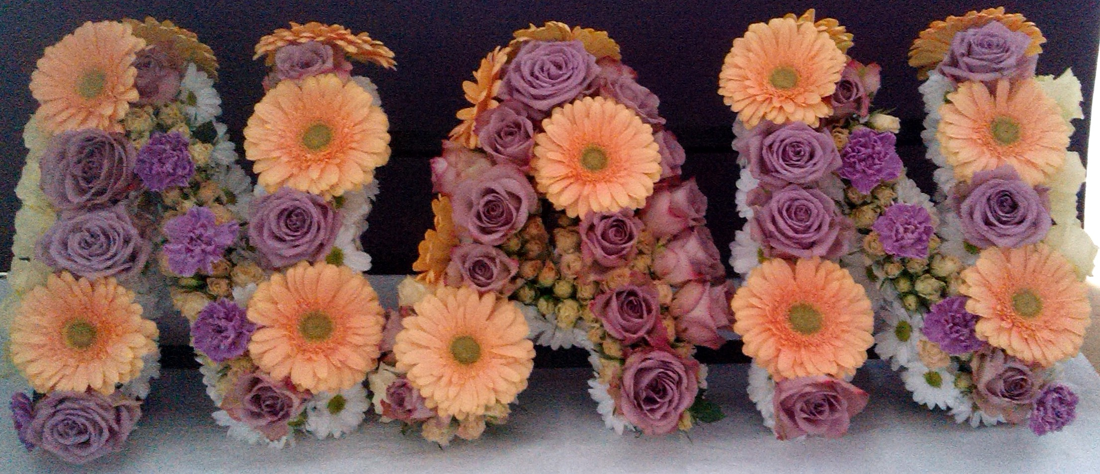 Respectful funerals shrinking violet bespoke floristry nan funeral flowers in peach and pink izmirmasajfo