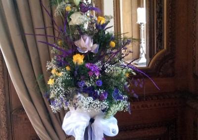 Flowers decorate the ceremony room