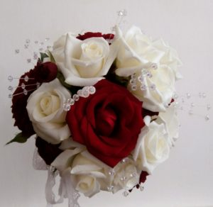 Stunning red and white rose posy by Shrinking Violet