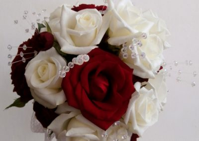 Stunning red and white rose posy
