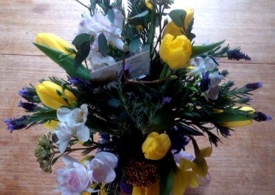 Yellow white and blue floral display