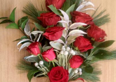 Red and silver funeral bouquet