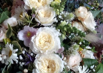 White rose large casket spray