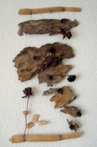 Wood and rose wall hanging