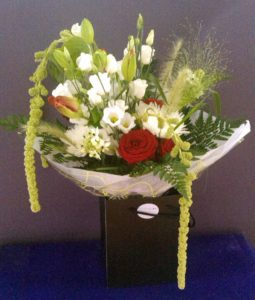 Large red and white romantic bouquet by Shrinking Violet
