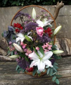 Lilac and Pink basket by Shrinking Violet