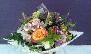 Lilac and peach bouquet by Shrinking Violet