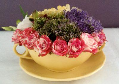 Soup bowl rose arrangement by Shrinking Violet