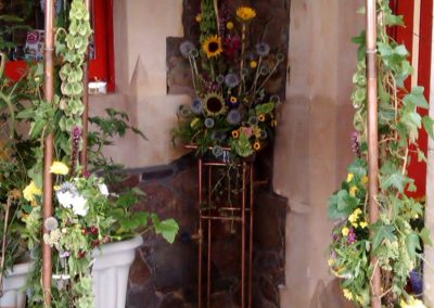 Copper garden archway and matching stand used for Malvern in Bloom