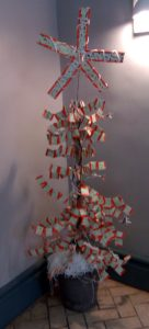 Christmas tree made from train tickets on display at Great Malvern Train Station