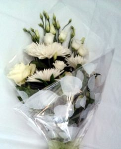 White flat back bouquet