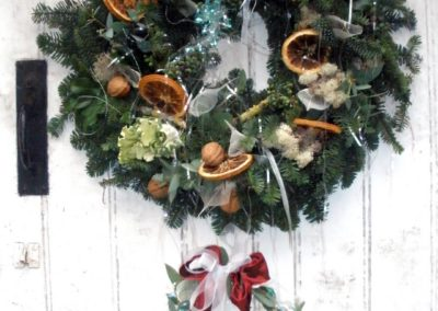 Traditional Christmas Door Wreath by Shrinking Violet bespoke floristry