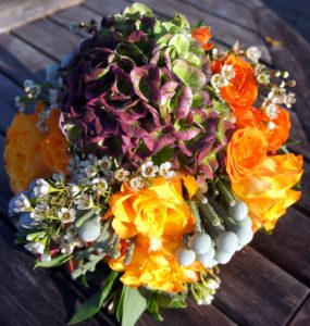 Autumn wedding bouquet showing hydrangea as centrepiece