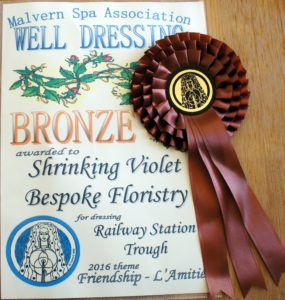 A picture of a Bronze award certificate and rosette from the Malvern Spa Association